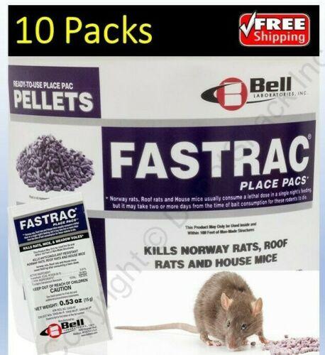 10 Packs - Fastrac Bromethalin Rat Mouse Vole Mice Poison Pellet CALIFORNIA OK