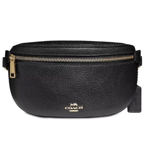 Coach Pebble Fanny Black Gold Leather Belt Bag