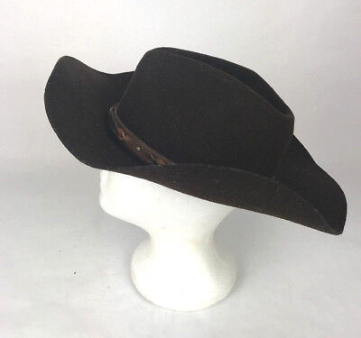 Renegade Headwear Cowboy Hat Dark Brown Size 6 7/8- 55 Made in USA