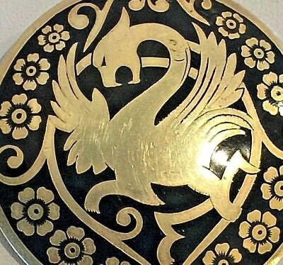 Vintage Brass Belt Buckle with Black Enamel Golden Dragon Design Unique Thailand
