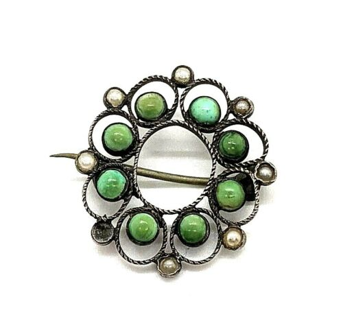 Old Pawn NAVAJO Antique Gasepite & Pearl Sterling Silver Brooch-Pin 7-21-109