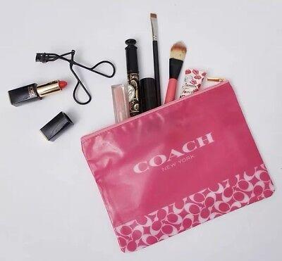 Pink Pouch - NWT Authentic Coach Monogram Fuchsia Pink Makeup Storage Zipper Pouch Bag Japan