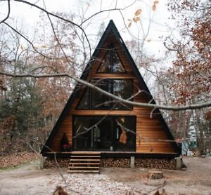 I am looking for a cottage, A-frame-small house in the wood