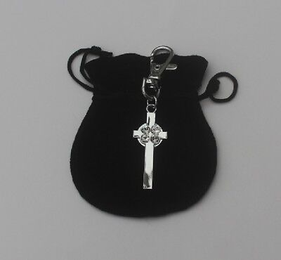 Celtic Cross charm, Key ring etc with an engraved name, message tel no etc