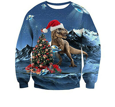 Christmas Vacation Ugly Sweater (UGLY XMAS CHRISTMAS SWEATER Vacation Santa Dinosaur Women Men Sweatshirt)