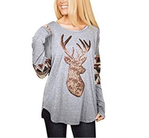 AlvaQ Women Christmas Loose Long Sleeve Front Sequin Deer To