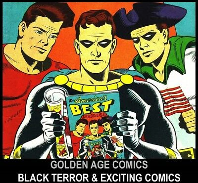 Golden Age STANDARD BETTER NEDOR BLACK TERROR EXCITING COMICS DVD Old Book lot