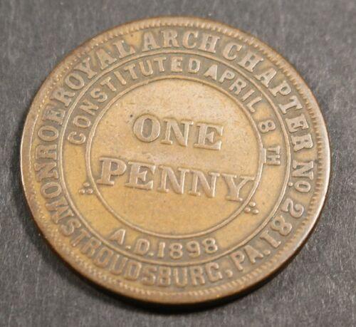 MASONIC LODGE Token - One Penny Monroe Chapter 281 Stroudsburg PA 31mm