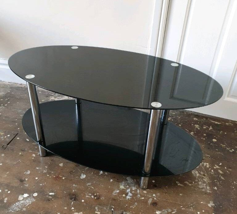 black glass and chrome 2 tier coffee table - Black Glass