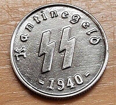WW2 WWII German silver coin SS Kantinegeld 1940  bar money Elite 50 Pfenning