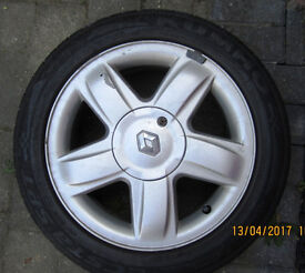 """USED 15"""" Alloy Wheel & Tyre suitable for 2002-2010 Renault Clio/Megane"""