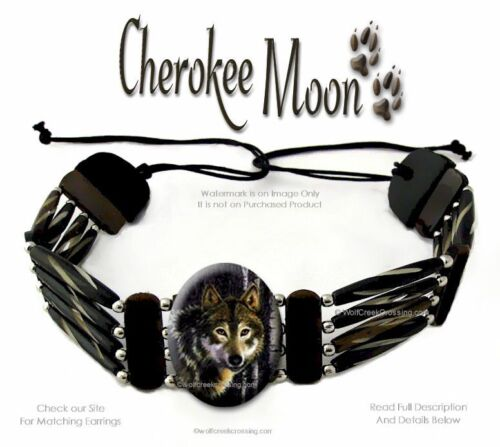 CHEROKEE MOON CARVED BUFFALO BONE BEAD LEATHER NECKLACE WOLF CHOKER WOLVES ART