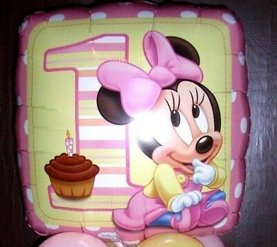 "18"" FOIL BALLOON AGE 1 1ST BIRTHDAY BABY  MINNIE MOUSE NEW IN CELLO BAG"
