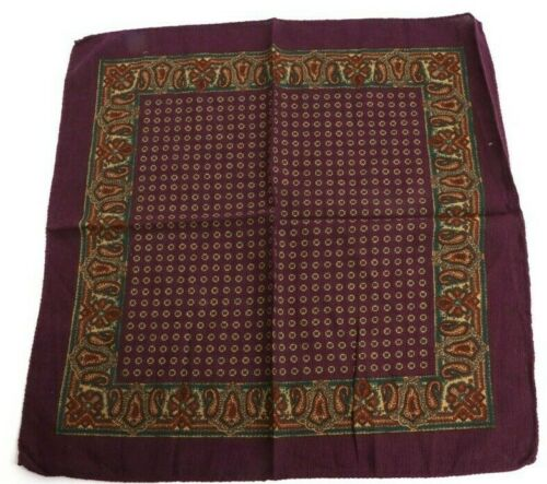 NWOT plum wine Cotton Wool Basketweave HandRolled Pocket Square MADE IN ITALY