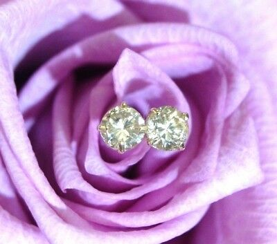Gold Champagne Diamond Earrings - .20CTW Light Champagne Natural Untreated Diamond 14K Yellow Gold Stud Earrings