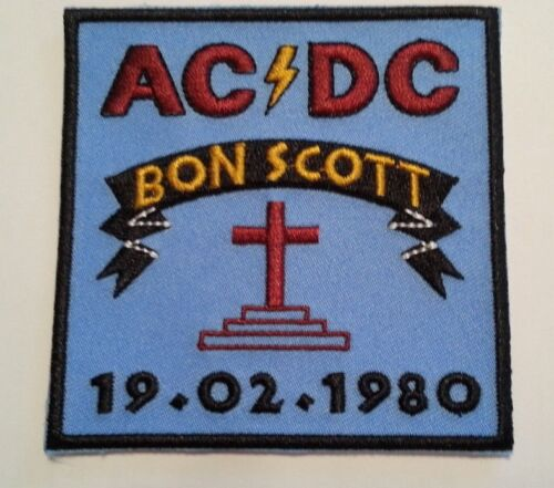 """AC/DC~Bon Scott Tribute 1980~Embroidered Applique PATCH~3 1/2""""~Iron Sew On"""