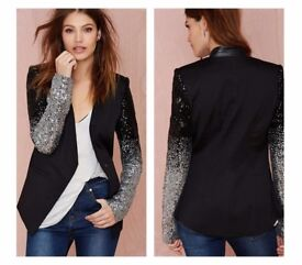 Unique and stylish women's Black silver sequins Jacket, party wear coat
