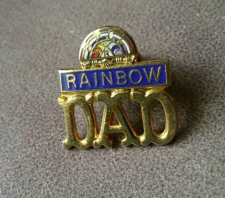 Rainbow Dad Lapel Pin Gold Tone Enamel