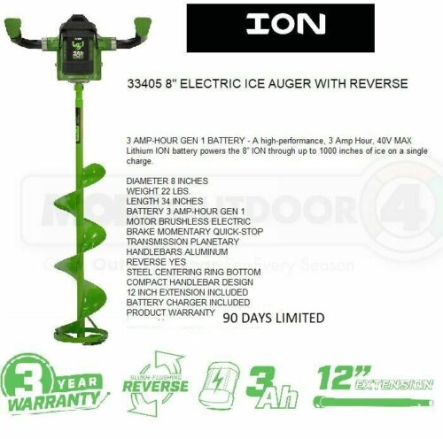 33405 ION 8 INCH GEN 1 ELECTRIC ICE FISHING HOLE AUGER REVERSE MFG REFURBISHED