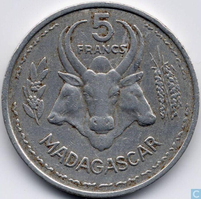 MADEGASCAR: 1953 CIRCULATED 5 FRANCS COIN , KM # 5
