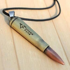 Fashion Men Boy Polished Stainless Steel Titanium Bullet Pendant Necklace Gift