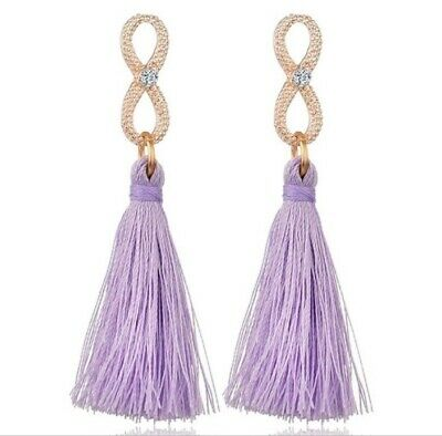 Tassel Drop Earrings 2 with infinity post and 1 with crystal post Crystal Tassel Post Earrings