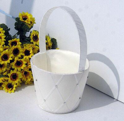 Wedding white flower girl petal basket decoration diamond ribbon pattern - Flower Girl Petal Basket