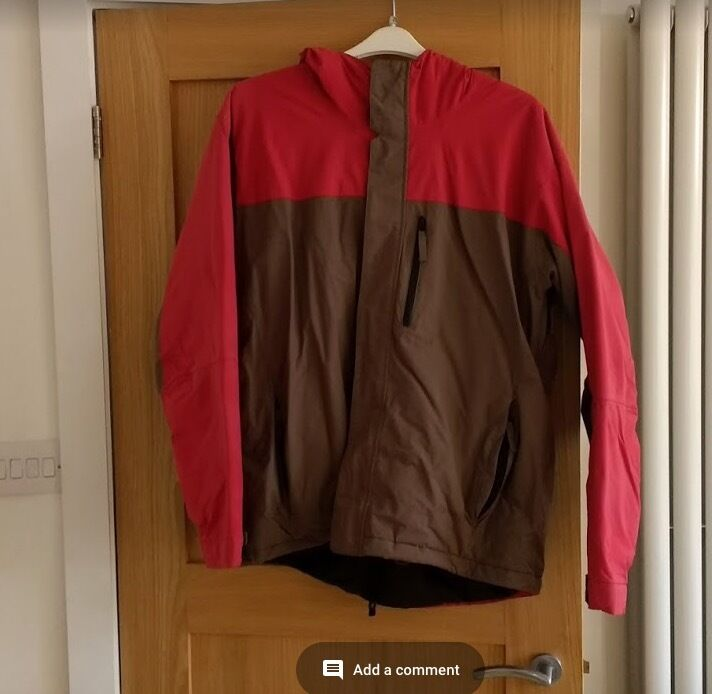 Man Skiing/Winter jacket for salein Headington, OxfordshireGumtree - Man skiing/winter jacket in good condition for sale. Ideal for the winter months as well as going skiing. Make Alpine Colour red and brown Size XL It is waterproof, has many pockets, vents and fitted with a snow guard
