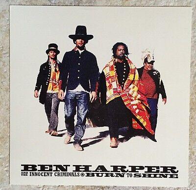 BEN HARPER 1999 Vintage BURN TO SHINE Promo Poster Flat RARE MINT