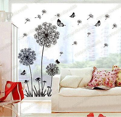 Dandelion Flowers Wall Stickers Transparent Wallpaper Decor Art Decal Home DIY