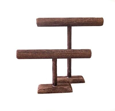 Set Of 2 Wooden T-bar Jewelry Displays 12 And 7 High Brown