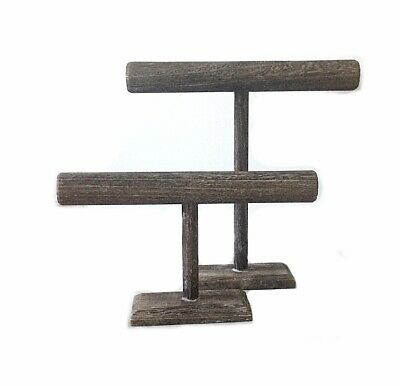 Set Of 2 Wooden T-bar Jewelry Displays 12 And 7 High Weathered Gray