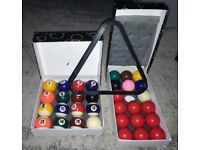 Powerglide - Full Set Pool Balls & Full Set 17 Snooker Balls in Boxes with Triangle.