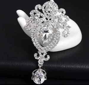 Large Flower Silver Bridal Brooch Rhinestone Crystal Diamante Wedding Broach Pin