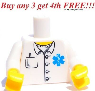 ☀️NEW Lego Torso MEDIC Male/Female EMT Doctor Nurse White Pocket Hospital lab, used for sale  Shipping to India