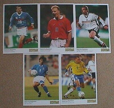 1998 World Soccer World Cup Postcards Ronaldo Maldini Klinsmann Bergkamp Zidane