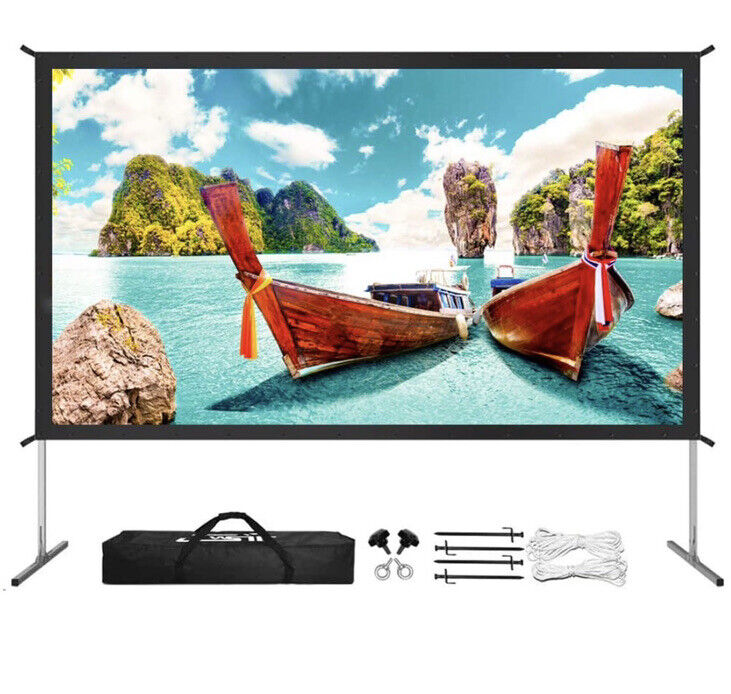 """Projector Screen With Stand Upgraded 3 Layers 120"""" 4K HD 16:9 Outdoor/indoor"""