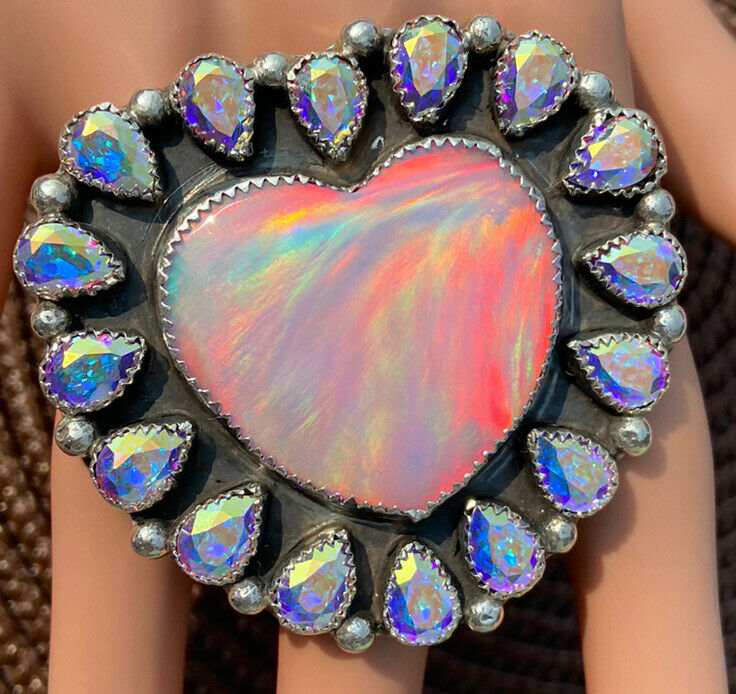 8.75 M&S TURQUOISE NATIVE AMERICAN STERLING LAB CREATED GALAXY OPAL HEART RING