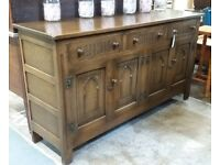 Solid Oak Sideboard With Drawers And Cupboards In The Old Charm Style