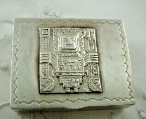 Sterling Silver Pill Box with Peruvian Figure Peru
