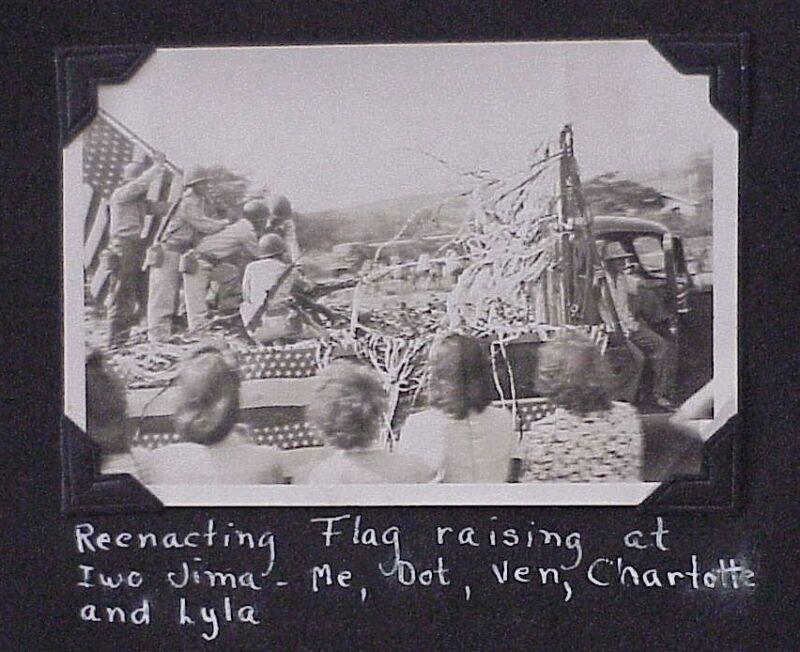 "Kaunakakai Molokai Sept 1945 VJ Parade Iwo Jima Flag TH Hawaii 2 1/2"" x 3 1/2"""