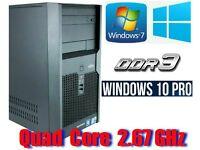 Win 10 Pro, Intel QUAD CORE 2.67GHz , 4GB Ram, 320GB HD