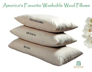 Premium-Shropshire-Wool-Filled-Washable-PILLOW-Down-Alternative-Hypoallergenic