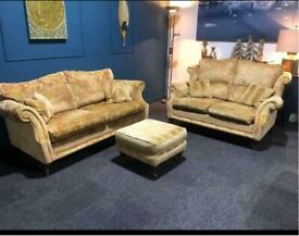 Wade velvet suite Gold and Red 3 seater sofa 2 seater sofa and pouffe