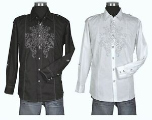 Mens Cotton Casual Embroidery Retro Western Shirt 33 Black