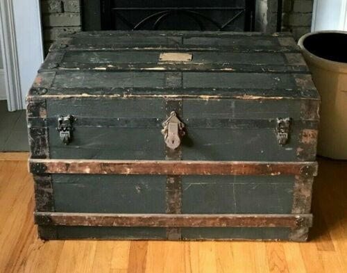 Flat Top Steamer Trunk Antique Vintage Flat Top Trunk Treasure Chest