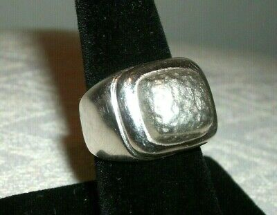 950 Sterling Silver Square Smooth & Hammered Bold Ring Size (Bold Square Ring)
