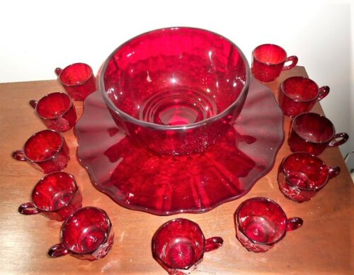 Vintage L.G. Wright Glass Red Paneled Grape Punch Bowl Set With 10 Punch Cups