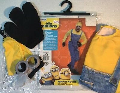 NEW MINIONS KEVIN Mens Halloween Costume One Size -Up To 44 Suit Goggles Hat Set - Kevin Up Halloween Costume