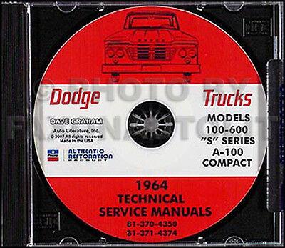 1964 Dodge Truck Shop Manual CD Pickup Power Wagon D100 D200-D600 W100 W200 W300